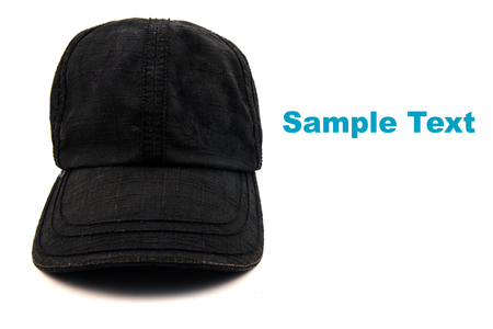 Front View of Black Cap Isolated on White Background. photo