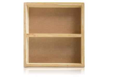 Empty wood shelf on white background Banco de Imagens
