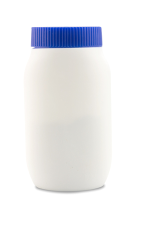 talcum: Baby talcum powder container on white background Stock Photo