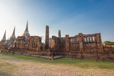 the architecture is ancient: Asian religion architecture. Ancient Buddhist pagoda ruins, Thailand travel landscape and destinations