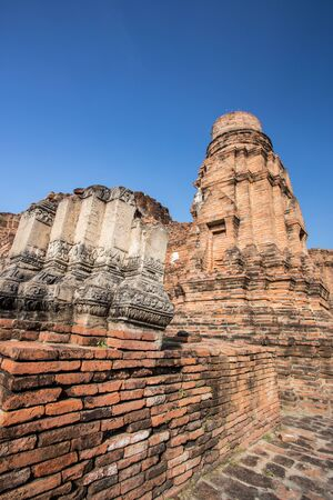 architecture ancient: Asian religious architecture. Ancient Buddhist pagoda ruins, Thailand travel landscape and destinations
