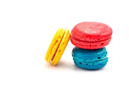 French macaroons on white background photo