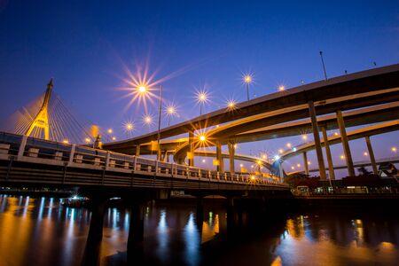 bhumibol: Night Scene Bhumibol Bridge, Bangkok, Thailand