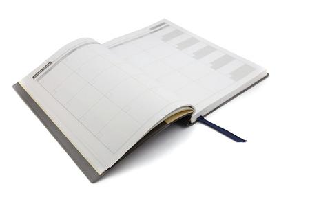Close-up van een dagboek open op de planner pagina, focus tekst januari Planner Stockfoto