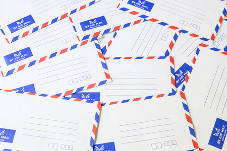 Pile of air mail envelope photo