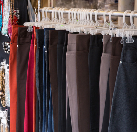 pants on the hanger in market thailand Stock Photo - 40069437