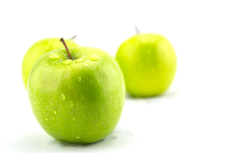 green apples: Ripe green apples isolated on white background