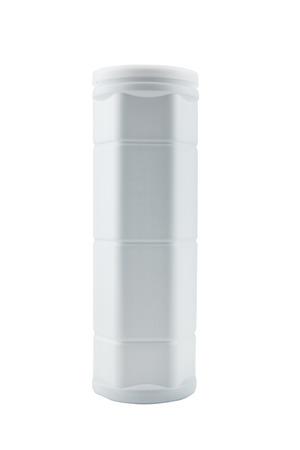 cylindrical: Cilindrico contenitore di forma plastica su sfondo bianco