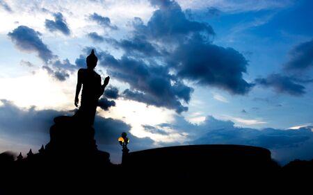 nakhon pathom: Silhouette of Buddha statue at Phutthamonthon, Nakhon Pathom, Thailand.