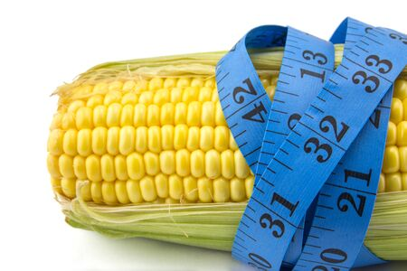 measured: corn measured the meter, sports corn, concept weight loss Stock Photo