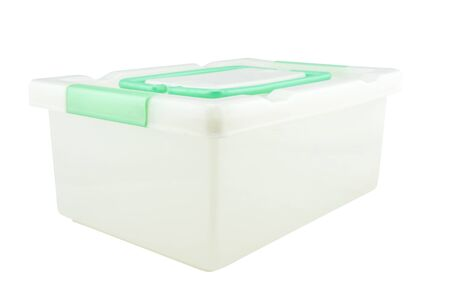 storage box: Plastic storage box Plastic container isolated on white background Stock Photo
