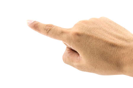 wagging: hand wagging on white background, clipping path Stock Photo