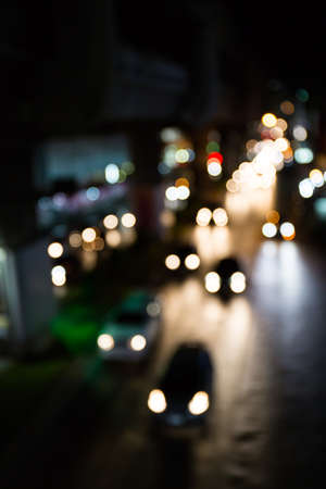 defocus: defocus street lights bokeh background. Stock Photo