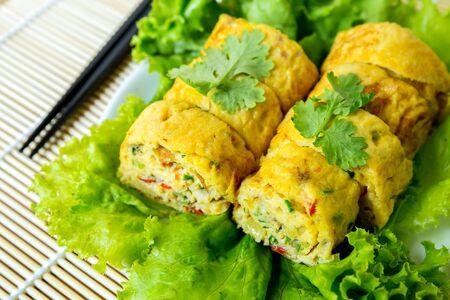 vegetarian food: homemade egg rolls, vegetarian food Stock Photo