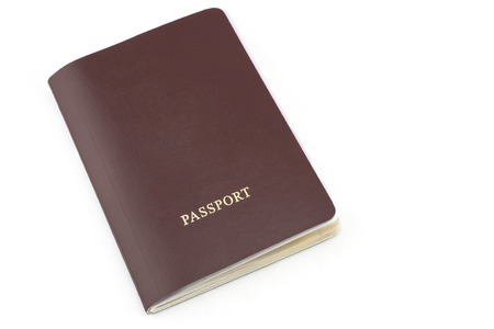 red passport with copy space on white background
