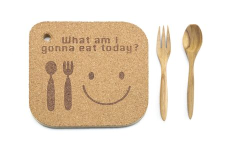 what to eat: wood texture write what am i gonna eat today concept and spoon on wooden background