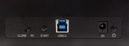 usb port: USB port and dc port Stock Photo