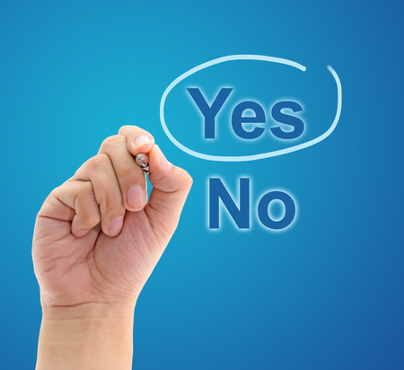 underscore: Hand mark on Yes with blue pen