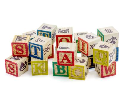 alphabet blocks: The wooden alphabet blocks on a white background