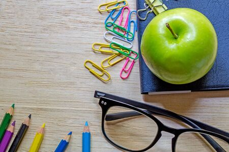 office supply: School and office supplies over office table. Top view with copy space Stock Photo