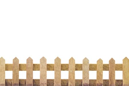 Houten hek achtergrond geïsoleerd over witte achtergrond Stockfoto