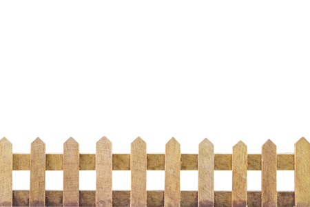 white picket fence: Wooden fence background isolated over white background