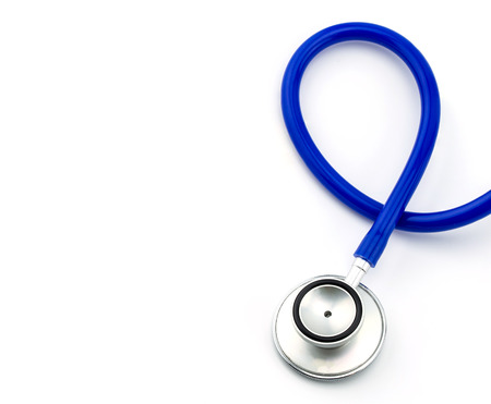 Stethoscope, health check tools on white background
