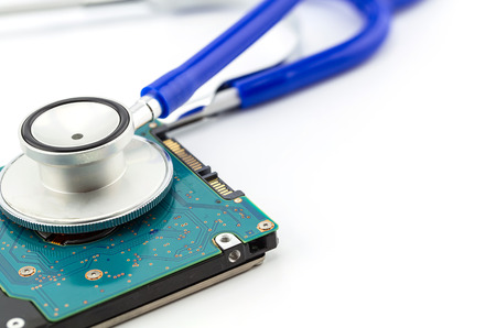 hard drive crash: Medical concept, stethoscope with computer hdd