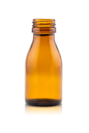 work path: Medicine bottle of brown glass on white background, (clipping work path included). Stock Photo