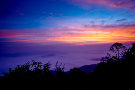 dao: sunrise at Samer dao mountain at Nan, Thailand Stock Photo