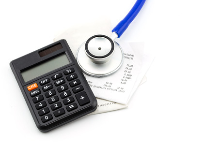 receipt: Stethoscope, receipt and calculator, concept business financial Stock Photo