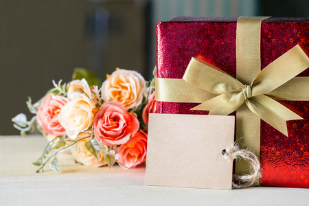 text box: flower and tag with gift box for your text vintage style, valentine concept