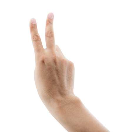victory symbol: man raising two fingers up on hand it is shows peace strength fight or victory symbol and letter V in sign language on white background, clipping part
