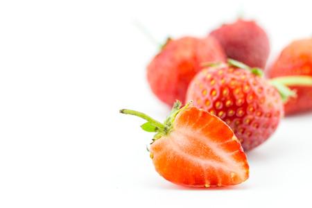 friut: fresh strawberry, friut on white background