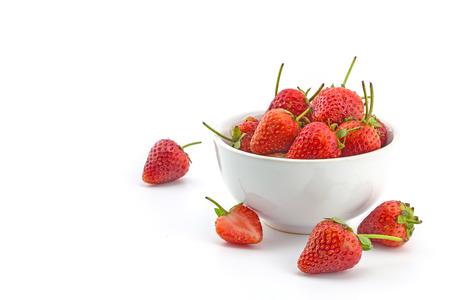 friut: fresh strawberry on bowl, friut on white background