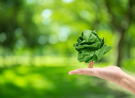 mannelijke hand houden papier vorm boom op wazig groene bokeh achtergrond van de boom natuur: wereld milieu dag