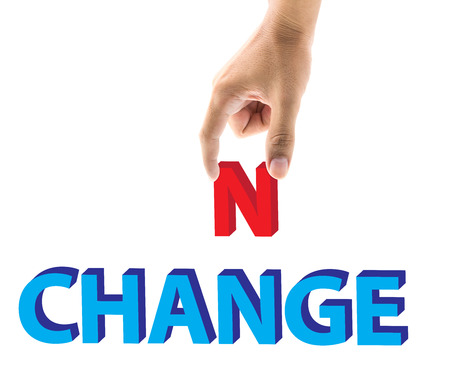 small articles: Finger pick a letters of Change and Chance word concept