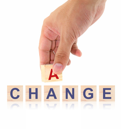 differentiation: Finger pick a wood letters of Change and Chance word concept