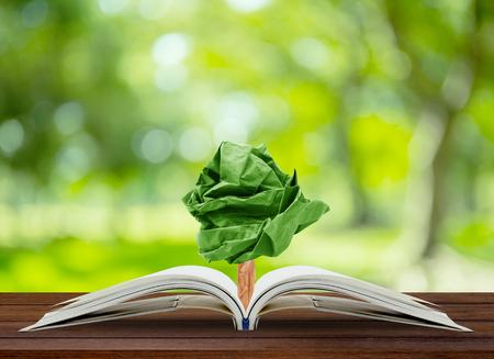 Дерево растет бумага из книги на столе, сохранение концепции окружающей среды, охрана окружающей среды