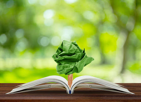 forest symbol: Tree paper growing from book on table, concept conservation of the environment, environmental protection Stock Photo