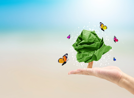 beach butterfly: male hand holding paper shape tree and butterfly on blurred beach background of tree nature : world environment day