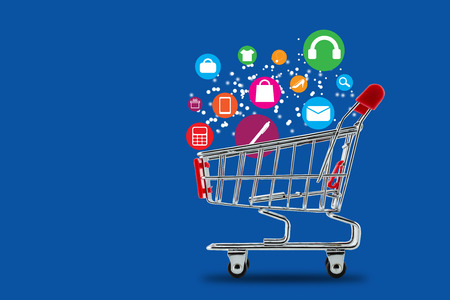 business software: Market cart shopping online concept Stock Photo