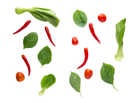 flay: Flay lay vegetables, herbs and spices on white background.