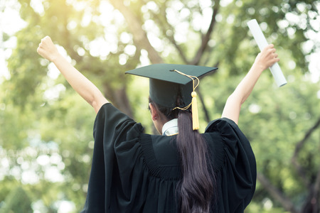 successful graduating student with nature background