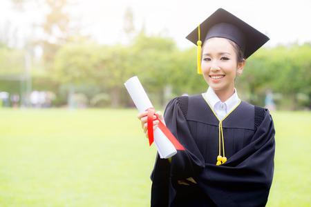 Happy graduated student girl, congratulations, graduate education success, concept education Stock Photo