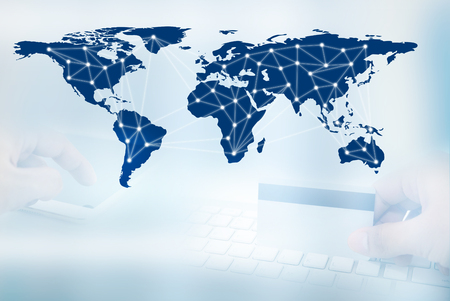 digital network line and circles, business technology concept Stock Photo