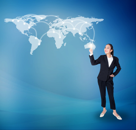 Businesswoman pointing with digital network line and circles, business technology concept, Elements of this image furnished by NASA
