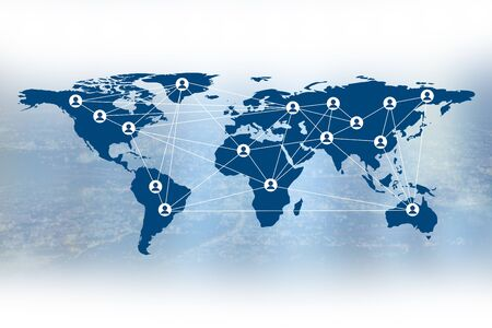 personel: Business the Social media and personel symbol on world map, Elements of this image furnished by NASA