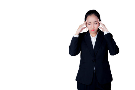 overworking: A young business woman have stress overworking with suffering from headache