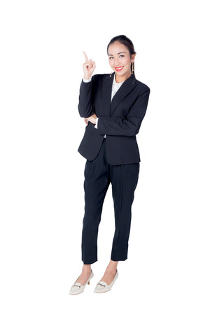 Young Buisness woman with finger point up on white background